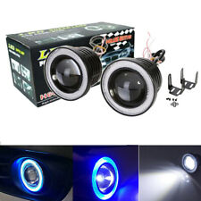 2x 3.5 Inch Round LED Fog Light Driving Spot Lamp w/ Blue Angel Eyes Halo Ring