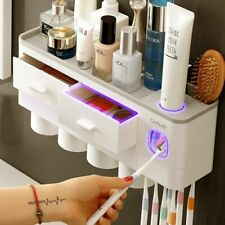 Toothbrush Holder Automatic Toothpaste Dispenser Cup Wall Mount Toiletries Rack,
