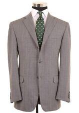 Hickey Freeman Woven Gray Chevron Striped Wool 2pc Suit Jacket Pants 42 R