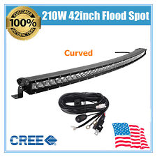 Kit & Curved 42inch 210W CREE LED Light Bar Single Row Slim Lamp SUV 4WD JEEP 43