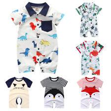 Newborn Infant Baby Girls Summer Cartoon Stripe Romper Jumpsuit Bodysuit Clothes
