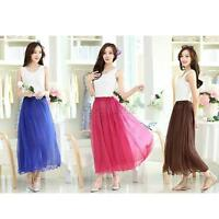 Summer Beach Women's Wave Silk Chiffon Maxi Elastic Waist Pleated Casual Skirt