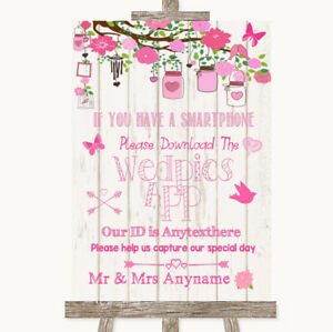Wedding Sign Poster Print Pink Rustic Wood Wedpics App Photos