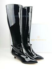 BRUNO MAGLI BLACK PATENT 100% LEATHER TALL BOOTS MADE IN ITALY NEW SIZE 7 # 95