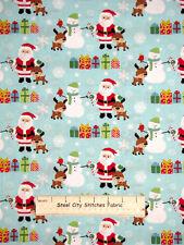Christmas Santa Little Deer Snowman Aqua Benartex 100% Cotton Fabric By The Yard
