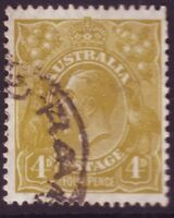 4d OLIVE KGV SMALL MULTIPLE WMK PERF 13.5X12.5 FINE USED (A8833)