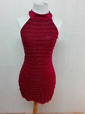 Vestido rojo de fiesta fashion sexy, volantes y bonito lazo en cuello Talla 34