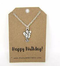 Feliz Cumpleaños Plata Cluster De Globos Collar Regalo Dulce tarjeta de mensaje