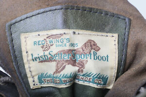 #47 Vintage 1970s? Red Wing Irish Setter Sport Boots, 13D Green Kangaroo Leather