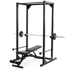 Gym Dumbbell Rack Cage Chin up Squat Stand Strength Fitness Adjustable Black