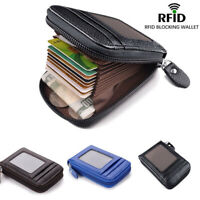 Men's Wallet Real Leather Credit Card Holder RFID Blocking Zipper Thin Pocket