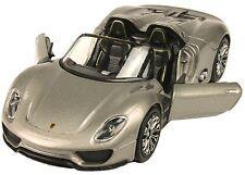 Porsche 918 Spyder Modellauto Welly silber grau metallic Cabrio Rennwagen 1:39