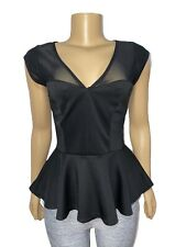 bebe Sleeveless Solid Mesh V-Neck Peplum Blouse Top Medium Black