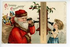 Antique Embossed SANTA Postcard Artist-Signed CLAPSADDLE Early Telephone 1907