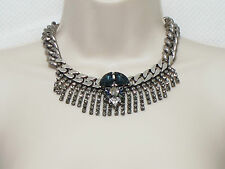 ANTON HEUNIS Large Strass Fringe Necklace Midnight Blue X-DISPLAY