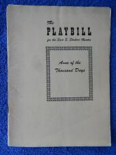 Anne Of The Thousand Days - Shubert Theatre Playbill - December 8th, 1948