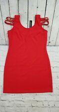 NEW DRESS CLUB Spike Studded Shoulder Red Stretch Club Party Dress WOMEN'S SZ M