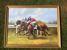 Oil on canvas painting signed Max Brandrett Horse race Goodwood Celebration Mile