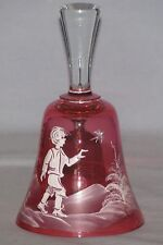 "Mary Gregory 5 1/2"" Cranberry Glass Bell Boy With Bird Hand Painted"