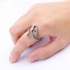 Unisex Women Men Punk Vintage Silver Octopus Finger Open Adjustable Ring Jewelry