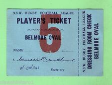 #D133.  1960s RUGBY LEAGUE PLAYER'S TICKET, SOUTH SYDNEY INTO BELMORE OVAL