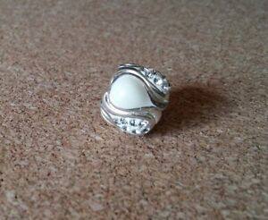 Persona European Sterling silver White Enamel Flower Charm Bead with Crystals
