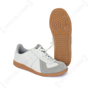 German Army Style Indoor/Outdoor Sports Trainers - Retro Style Sneaker - White