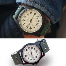 Classic Men Waterproof Date Faux Leather Strap Sport Quartz Army Wrist Watch SG Green