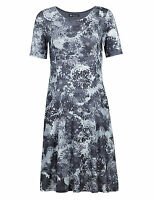 New M&S COLLECTION Best of British Grey Floral Swing Dress Sz UK 8 10 12