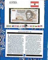 E Banknotes of All Nations Austria 20 Schilling 1986 (1988)  P148 UNC M057655M