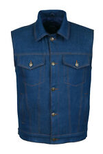 Blue Denim Jeans Trucker Vest Waistcoat Biker Motorcycle Fashion Fabric Textile