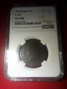 1814 1c Plain 4 S295 AG. 3. BN NGC. #102