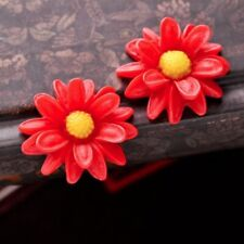 3 Resin Flatback Cabochons Flower Watermelon Red and Iovry Yellow 23x22x7mm OB