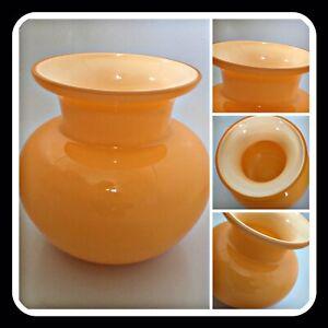 Modern Zest Vase Orange Tangerine Lined Bulb Posy