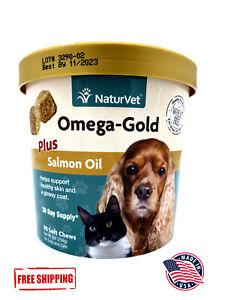 NaturVet Omega Gold Healthy Skin Coat Supplement 90 Chews FREE SHIPPING