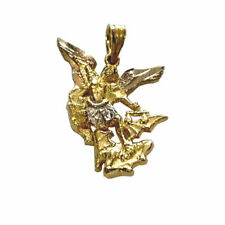 14kt Solid Yellow White Gold Saint Michael Miguel Pendant Charm