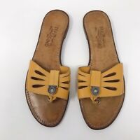 Salvatore Ferragamo Cut Out Leather Thong Slides Flats Marigold Yellow Sz 8.5