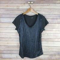 ANN TAYLOR LOFT Women's Short Sleeve V Neck Sequin Blouse S Small Dark Gray