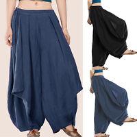Women's High Elastic Waist Casual Harem Oversized Baggy Long Pants Trousers Plus