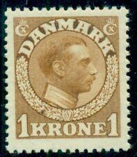DENMARK #132  1kr yellow brown, Chr. X, og, NH, XF Scott $340.00