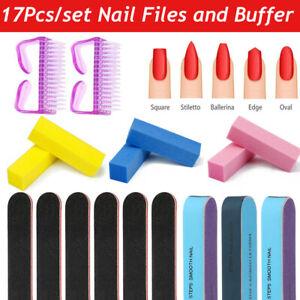 17Pcs Nail Files Buffer  Blocks for Manicure Pedicure Set Nail Care Sanding Tool