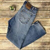 VTG Levis Yellow Tab 505 Straight Leg Regular Fit Distressed Jeans Worn In 36X30