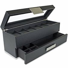 Watch Box Valet Drawer for Men 6 Slot Luxury Case Display Carbon Fiber