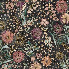Robert Kaufman Patchwork Fabric Lumina Floral Charcoal With Metallic - Per 1/...