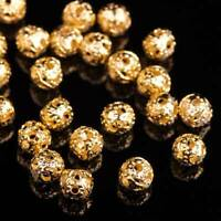 Wholesale 100pcs 4mm Round Metal Alloy Hollow Out Loose Beads DIY Findings Gold