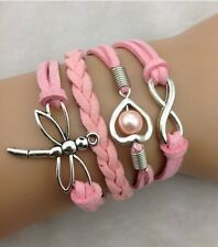 NEW Fashion Jewelry Pink  dragonfly Heart Tibet silver Leather Bracelet DEF09
