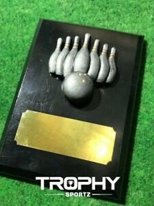 Ten Pin WOODEN PLAQUE 110x150mm gloss black award achievement bowling bowls