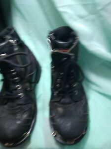 Women's Black Harley Davidson Ankle Boots, size 9.5, lace and zipper
