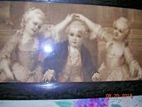 Antique Oak framed Sepia Victorian Print Children Marie Antoinette Mozart French