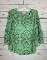 Umgee Boutique Women's S Small Green 3/4 Sleeve Spring Summer Top Blouse Shirt